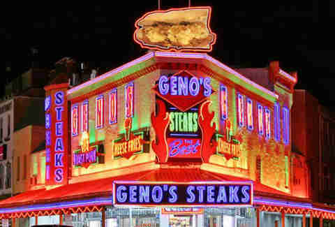 The exterior of Geno's Steaks