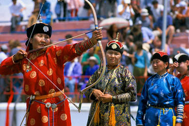 Mongolian archery competition