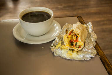 Breakfast tacos at Thunderbird Coffee