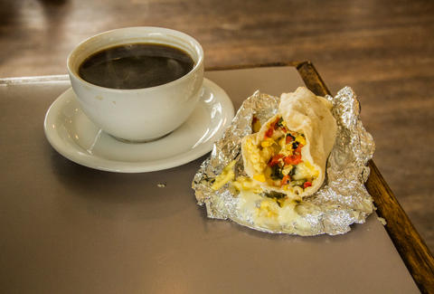 Breakfast tacos at Thunderbird Coffee