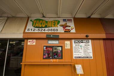 The sign at Taco-Mex