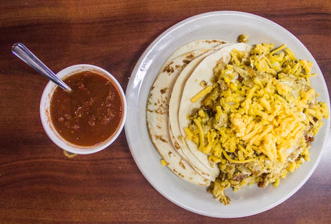 Breakfast tacos at Juan in a Million