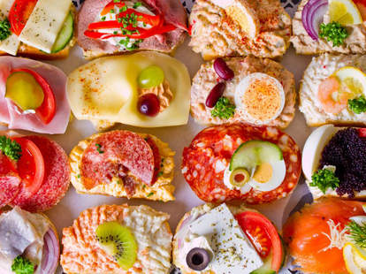 Tiny, open-faced sandwiches