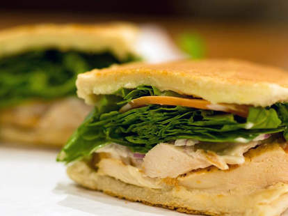 Cuban-style sandwich with spinach and turkey Cafecito Chicago