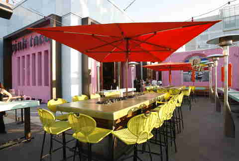 Outdoor seating at Pink Taco Century City