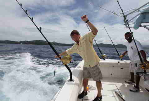 Man deep sea fishing