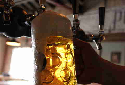 a huge stein of beer at Bohemian Biergarten