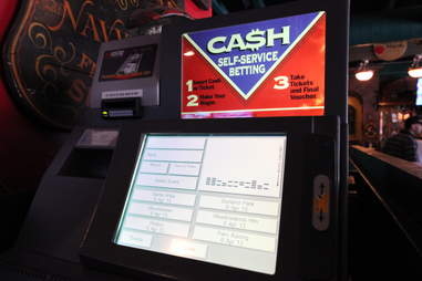 an automated betting machine at Delaney's Cigar Bar