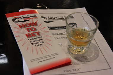 """a shot, a """"how to bet"""" pamphlet, and a racing program at The Celtic Tavern"""