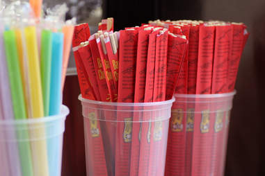 Chopsticks and Bubble Tea straws on Fugu Food Truck