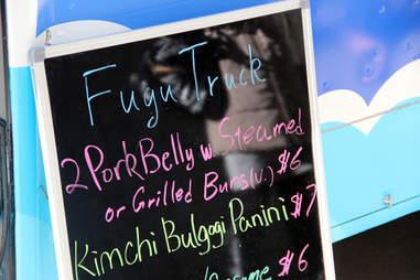 Fugu Food Truck's Menu Board