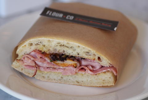 Ham and salami sandwich at Flour + Co