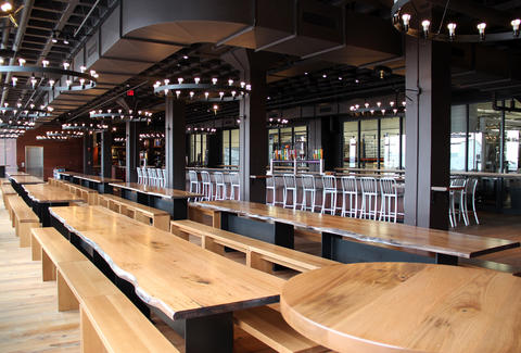 Beer hall at Harpoon Brewery