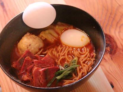 Brisket, egg, and matzoh ball ramen from Cheu Noodle Bar