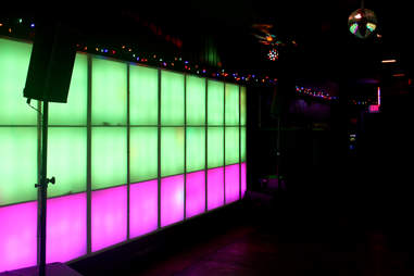 A glowing wall at the Dolphin Tavern in Philadelphia