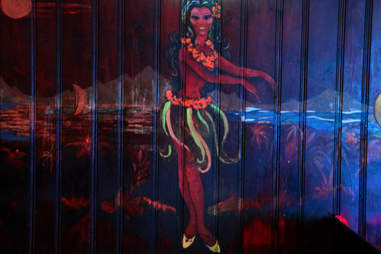A hula girl mural at the Dolphin Tavern in Philadelphia