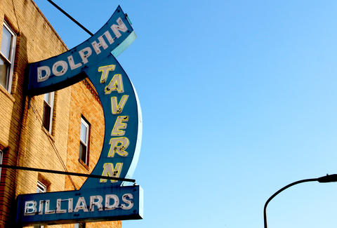 The exterior sign of the Dolphin Tavern in Philadelphia