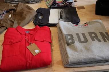 Sweatshirts and button-ups at Portland's Bridge & Burn.