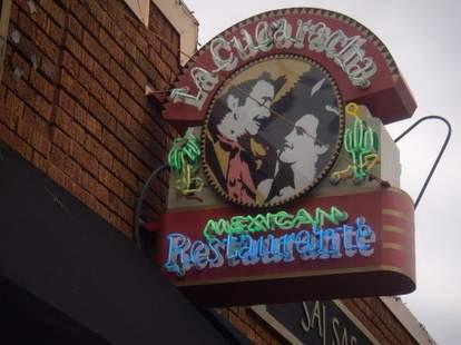 Outside of La Cucaracha mexican restaurant in Minneapolis