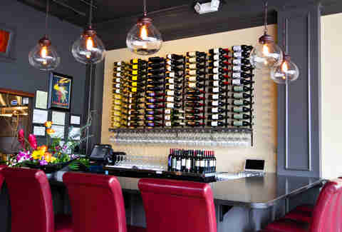 Volare Bistro wine rack and bar