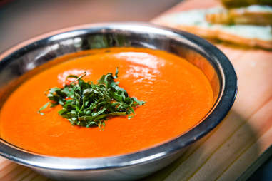 House-made Roma Tomato and Basil Soup at The New Yorker.