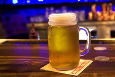 Craft beers are served in mason jars at The New Yorker.