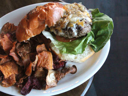 Cedar Point Bar & Kitchen's pimento cheeseburger with root chips
