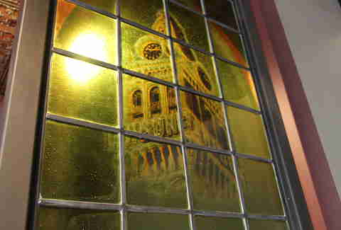 Stained glass at Tribune Tavern