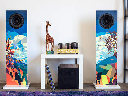 Colorful pair of speakers in a living room