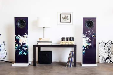 Pair of dark speakers in a living room
