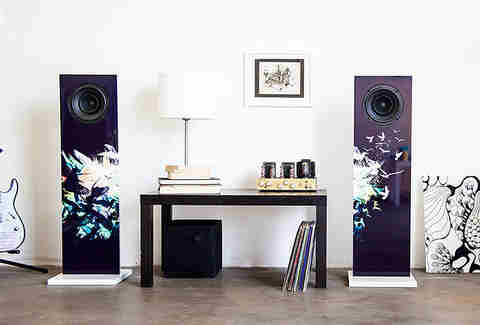 Pair of dark speakers in a living room