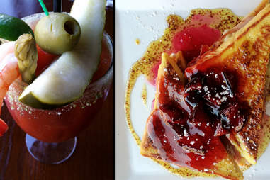 Wasabi Bloody Mary and ham and cheese French toast at Sola