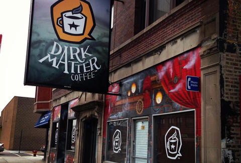 Exterior of Dark Matter Coffee express bar in West Town