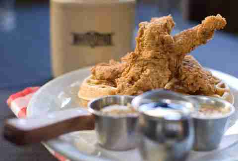 Moonshine fried chicken and waffles
