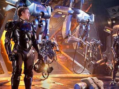 Giant robots fight giant monsters in Pacific Rim.