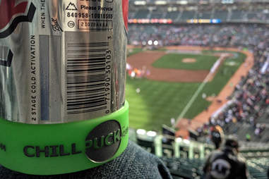Chill Puck on a can at a baseball park