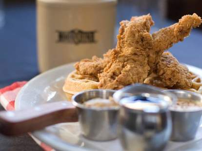 Fried chicken and waffles at Moonshine Grill