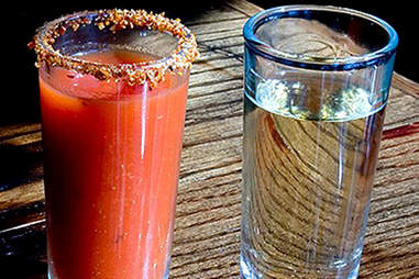Tequila and shooter at Cantina Los Caballitos