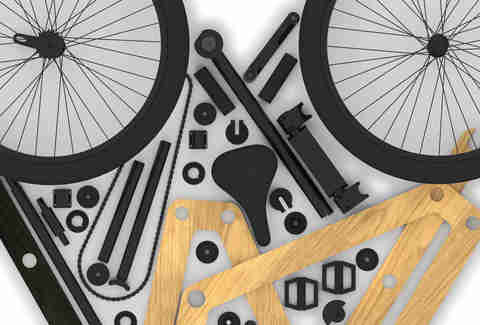 Aerial view of Sandwichbike parts and tools