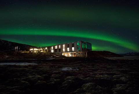 ION Iceland at night, with the northern lights