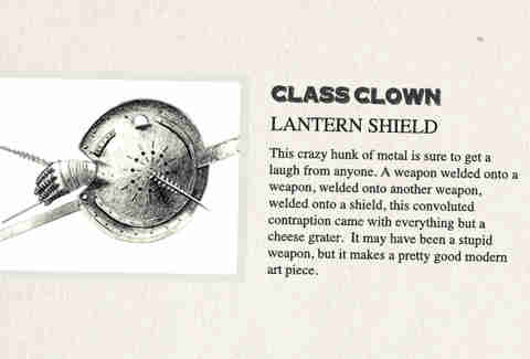 The Lantern Shield is class clown in History of Weapons