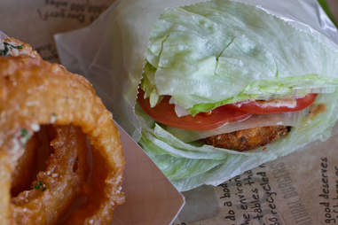 BurgerFi Atlanta - VegeFi Burger Green Style with Onion Rings