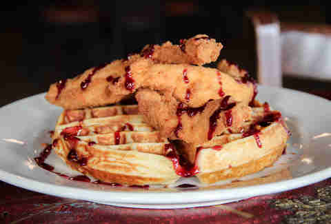 Chicken and waffles at Pepe's Ranch, Deep Ellum, Dallas TX