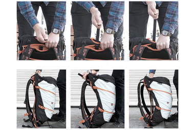 Series of photos instructing how to swap out the different bags