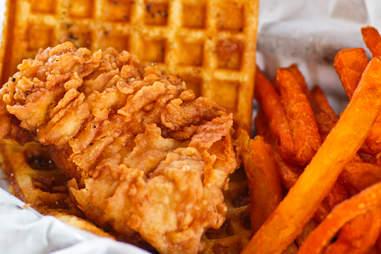 Slideways - Chicken & Waffle with sweet potato fries
