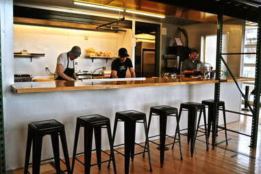 counter and chairs at refuel