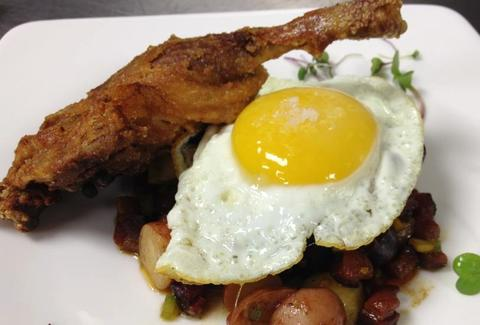 Duck Confit, Potato Hash, Fried Duck Egg at The Rusty Pelican