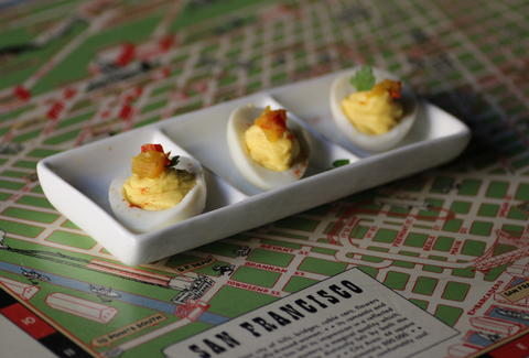 Deviled eggs at Bitters, Bock, and Rye