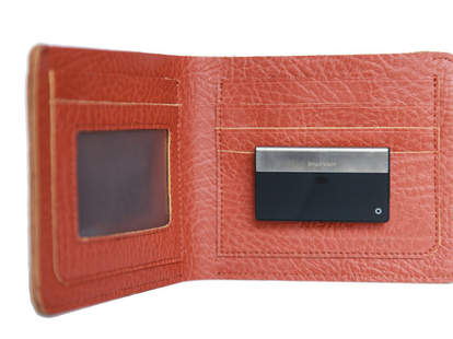 Billfold open, with SmartWallit hung on credit card slot
