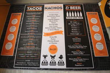 Tachos, Nachos & Beer menu